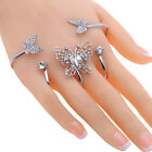 Crystal Butterfly Hand Cuff Palm Bracelet Ring Gold Plated For Wedding Bridal