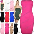 Womens Ladies Sleeveless Boobtube Neckline Bandeau Tunic Fit Bodycon Mini Dress