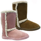 WOMENS LADIES GIRLS FLAT FUR FAUX SNUGG BIKER WINTER WARM SNOW CALF BOOTS SIZE