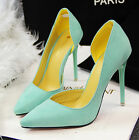 Fashion Side Hollow Pointy Toe Suede High Heel Shallow Womens Shoes Size Color