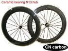 80mm Clincher carbon road wheels alloy braking surface Ceramic bearing R13 hub
