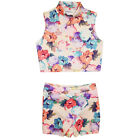 Girls Floral Top & Skort Skirt 2 Piece Sets Kids Sleeve High Outfit 7-13 Years