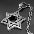 Large Men  Star of David Jewish Symbol 316L Stainless Steel Pendant
