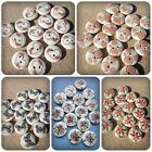 15 x 2-Hole Printed Wooden Buttons - Round - 15mm - Flowers [Various Designs]