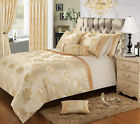 CREAM GOLD STYLISH FLORAL JACQUARD DUVET COVER LUXURY BEAUTIFUL GLAMOUR BEDDING