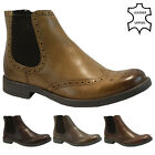MENS REAL LEATHER CHELSEA BROGUE BOOTS ANKLE DEALER FORMAL SMART WEDDING SHOES