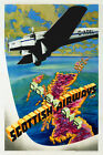 Vintage Art Deco Aviation Poster Spartan Cruiser Scottish Airways 1930s Travel