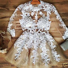 Womens Party Gold White Lace Mesh Long Sleeved Puffball Skater Tutu Prom Dress