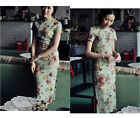 Chinese Vintage Gown Short Sleeve Cheongsam Bodycon Dress White Floral Linen XY