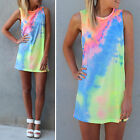 Womens Rainbow Tie Dye T Shirts Blouse Colorful Design Party Neon Dress Sundress