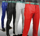 Mens Korean Personality Slim Fit Trousers zip Casual Jeans faux Leather Pants