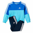 adidas Crew 3-Stripe Jogger Infant Kids Boys Tracksuit Set Blue