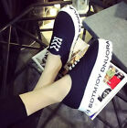 New Fashion Womens Comfortable Flat Creeper Letter Lace Up Casual Shoes Size