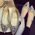 Luxury Lady Gorgeous Crystal Diamante Pointy Toe Flat Patent Slip On Party SHoes
