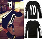 #176 Man and Woman Unisex Letter Pattern Black Crew neck Long Sleeve T-Shirts