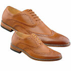 Mens Gents Boys New Tan Brown Smart Formal Suit Office Wedding Brogue Shoes
