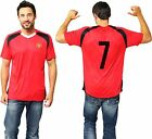 Manchester United Official Football T Shirt with Number Training Red Devils Kit