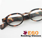 Unique EGO MATTE TORTOISE Round Oval Retro Nerd Reading Glasses All Strength