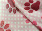Paw Print Cuddle Fleece Fabric, Pink