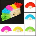 Hand Made Art Chinese Fork Silk Bamboo Short Belly Dance Dancing Fans Veils