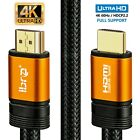 IBRA® Premium HDMI Cable v2.0 Gold High Speed HDTV UltraHD HD 2160p 4K 3D-Orange