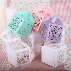 100 Love Heart Luxury Laser Cut Candy Gift Boxes With Ribbon Wedding Party Favor