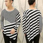 Men's Retro Black White Striped Tees Long Sleeve Round Neck Casual Loose T-shirt