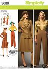 Simplicity 3688 Sewing Pattern 1940's Blouse Jacket Skirt Pant Suit Ladies 10-28