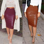 New Women Wet Look High Waist Leather Stretchy Bodycon Pencil Skirt Midi Dress