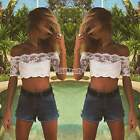 Sexy Lady Womens Casual Summer Off-Shoulder T-shirt Tops Lace Blouses Crop Top