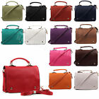 New Ladies Women Faux Leather Multi Zip Pocket Satchel Shoulder Bag
