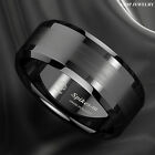 8Mm Brushed Center black Tungsten Carbide ring Wedding Band Mens Jewelry