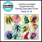 JUSTICE LEAGUE SUPERHEROES PARTY CUPCAKE PICKS TOPPERS DECORATIONS - PACK OF 10