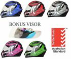 NEW FULL FACE MOTORCYCLE HELMET ADULT & FREE EXTRA VISOR ROAD BIKE MOTOR BIKE .