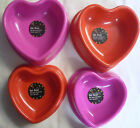 Pink or Red Hard Plastic Love Heart Pet Dog or Cat Food Feeding Bowl (2 Sizes)