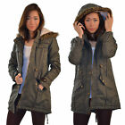 New Ladies Hooded Parka Fleece Womens Fishtail Jacket Coat Khaki 8 10 12 14 16