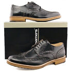 Mens New Black Formal Smart Suit Hi-Shine Leather Brogue Gibson Shoes 6 - 12