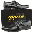 Mens New Formal Smart Office Suit Twin Buckle Leather Lined Black Monk Shoes