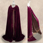 Lined Brown Silk Hooded Cape Halloween Velvet Cloak Wedding Wicca SCA Size S-6XL