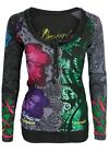 Desigual designer long sleeve top~Rainbow bold print~Lace back~8-12~New