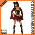 Womens Deluxe Pirate Bucaneer Ladies Fancy Dress Costume All Sizes