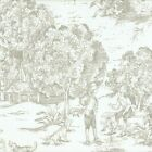 French Country Pebble Taupe Toile Rod Pocket Tailored Tier Curtain Panels