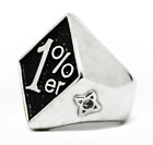 1%er One Percent, Outlaw Motorcycle Biker Ring, Stainless Steel 7 thru 15