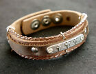 Thick Natural Brown Leather Bracelet with Cross Amulet, Christian Jewelry