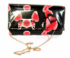 LADIES PU  CLUTCH  BAG WITH POPPY & BUTTERFLY PRINT- ELLA 72976