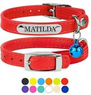 Leather Cat Collar Kitten Collars with Bell Personalized Nameplate Blue Purple