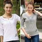 Womens Long Sleeve Shirt Casual Lace Blouse Loose Cotton Tops Butterfly T Shirt