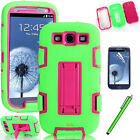 Hybrid Rubber ShockProof Hard Case Cover For Samsung Galaxy S3 i9300 + Free Film