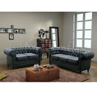 Dover Chesterfield 3 + 2 Seater Sofa Set In Black Leather