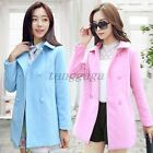 Grace Sweet Womens Casual Slim Fit Double Breasted Trench Coat Jacket Peacoat